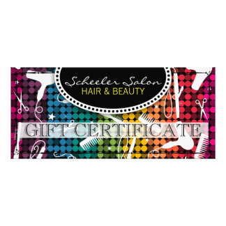 Rainbow Glam Hair & Beauty Gift Certificate Rack Cards