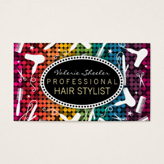 Rainbow Glam Hair Salon Custom Business Cards