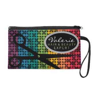Rainbow Glam Hair Shears Custom Wristlet Bag
