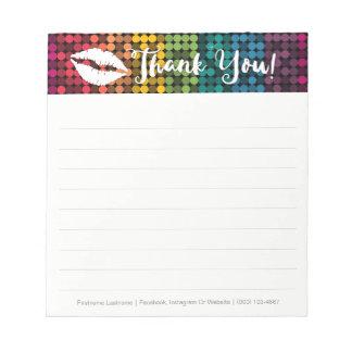 Rainbow Glam with Lips Custom Thank You Notepad