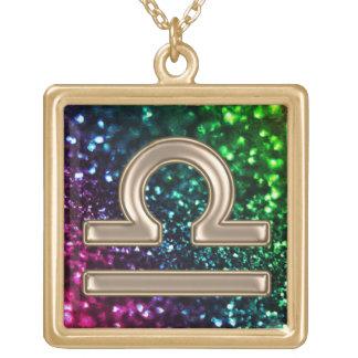 Rainbow Glitter Gold  Libra Zodiac Sign Necklace