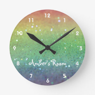 Rainbow Glitter Kid's Bedroom Round Clock
