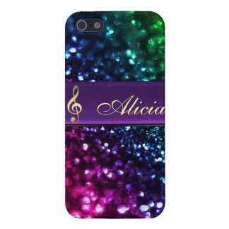 Rainbow Glitter Personalized Gold Music Clef Case iPhone 5 Covers
