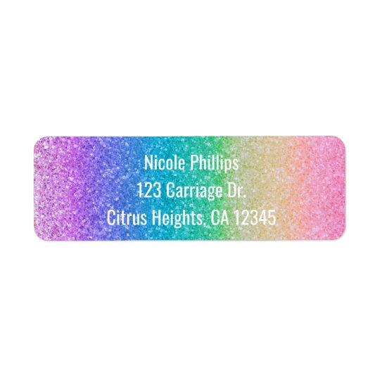 Rainbow Glitter Sparkle Glam Party Invitation Return Address Label