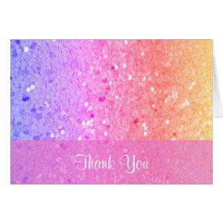 Rainbow Glitter Thank You Card