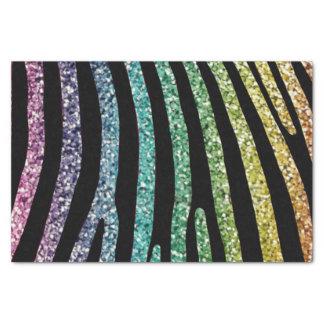 Rainbow Glitter Zebra Stripe Tissue Paper