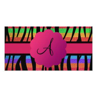 Rainbow glitter zebra stripes monogrammed customised photo card