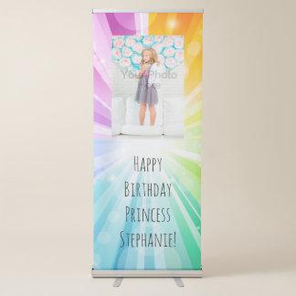 Rainbow Glow Girls Birthday Sign Banner