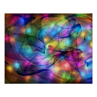 rainbow glowing lights poster