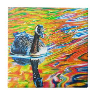 Rainbow Goose Ceramic Tile
