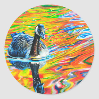 Rainbow Goose Classic Round Sticker