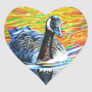 Rainbow Goose Heart Sticker