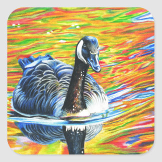 Rainbow Goose Square Sticker