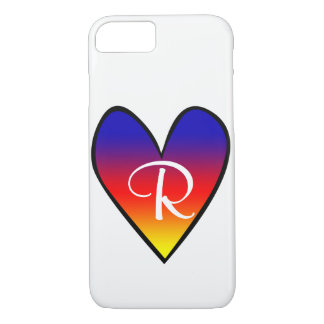 Rainbow Gradient Heart with Initial iPhone 7 Case