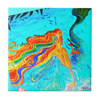 rainbow hair mermaid blue ceramic tile