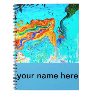 rainbow hair mermaid notebook