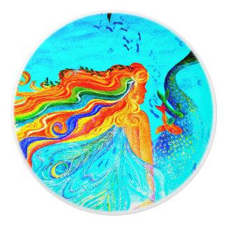 rainbow-haired mermaid ceramic knob