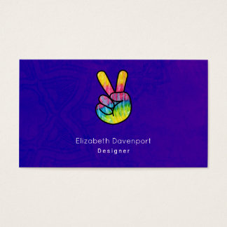 Rainbow Hand Peace Sign Acid Purple Background Business Card
