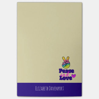Rainbow Hand Peace Sign Peace and Love Typography Post-it Notes