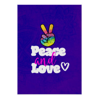 Rainbow Hand Peace Sign Peace and Love Typography Poster