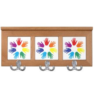 Rainbow hands coat rack
