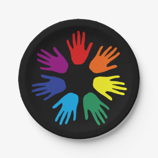 Rainbow hands paper plate