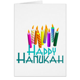Rainbow Hanukah Candles Card