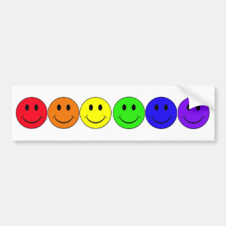 rainbow happiness smiley bumper sticker