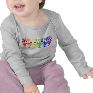 Rainbow Happy Chanukah Infant Longsleeve Tshirts