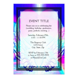 Rainbow Heart and Angel Wings Personalized Invites