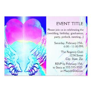 Rainbow Heart and Angel Wings Invitations