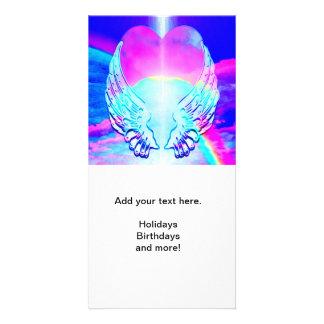 Rainbow Heart and Angel Wings Photo Greeting Card