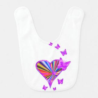 Rainbow Heart and Butterfly Bib