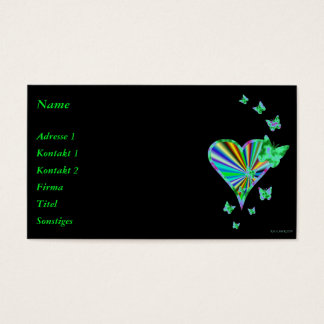 Rainbow Heart and Butterfly Business Card