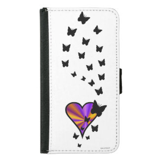Rainbow Heart and Butterfly Samsung Galaxy S5 Wallet Case