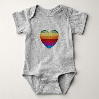 Rainbow Heart Baby Bodysuit