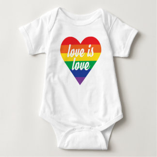 Rainbow Heart Baby Shirt - Love is Love