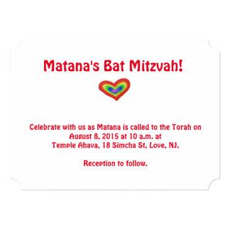 Rainbow heart bat mitzvah invitation