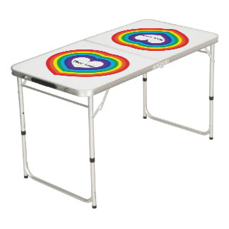Rainbow heart beer pong table