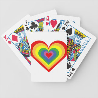 Rainbow Heart Bicycle Playing Cards