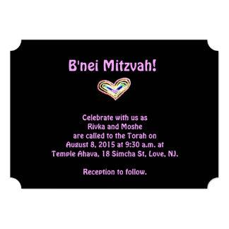 Rainbow heart b'nei mitzvah invitation