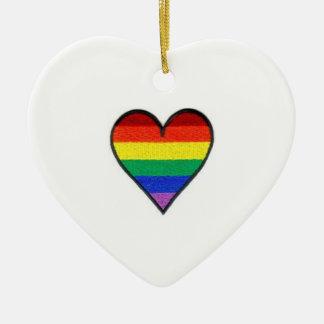 rainbow heart ceramic heart decoration