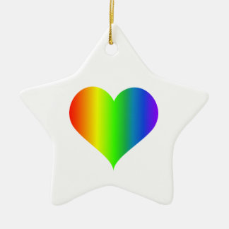 Rainbow Heart Ceramic Star Decoration