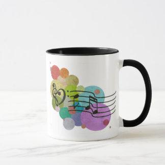 Rainbow Heart Clefs, music notes & polka dots mug