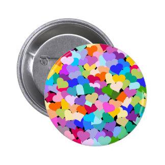 Rainbow Heart Confetti 6 Cm Round Badge