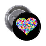 Rainbow Heart Confetti 6 Cm Round Badge
