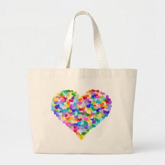 Rainbow Heart Confetti Large Tote Bag
