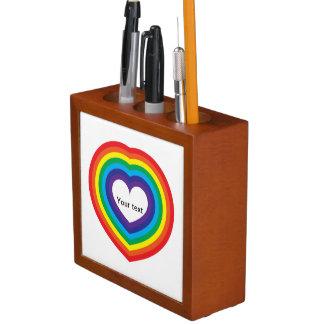 Rainbow heart desk organiser