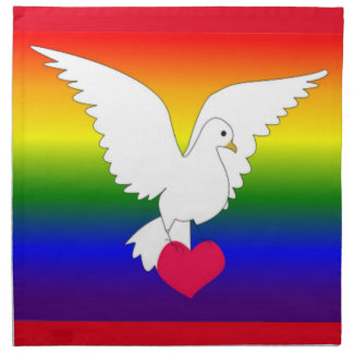 RAINBOW HEART DOVE PRINTED NAPKINS