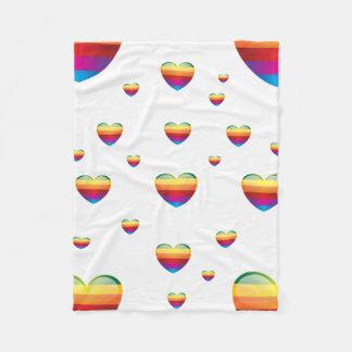 rainbow heart Fleece blanket(small)
